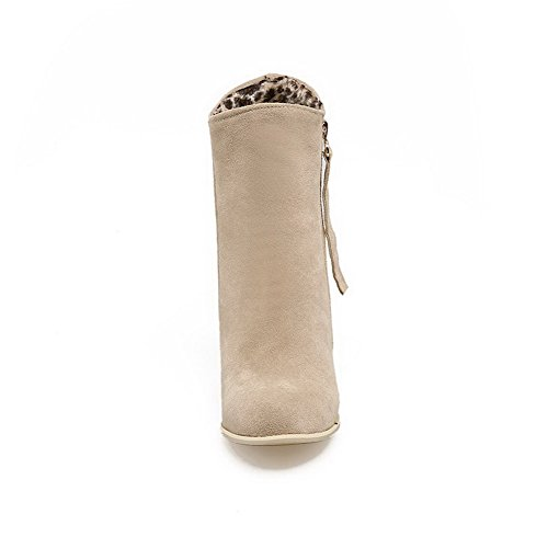 AllhqFashion Womens Zipper High Heels Imitated Suede Solid Round Closed Toe Boots Beige LSTw0PLF6z