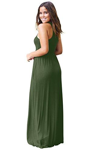 Cerimonia Abiti Con Eleganti Tasca Maniche Tinta Vestito Lunghi Casuale Estivi Vestiti Donna Verde Unita Sera Senza Vestitini Camicia Miya Esercito aBZXPqy