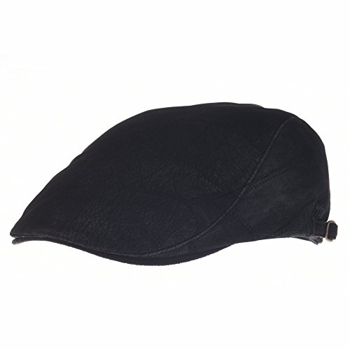 - WITHMOONS Faux Leather Suede Vintage Newsboy Hat Flat Cap LD3082 (Black, L)