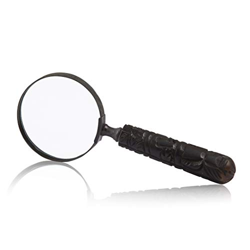 (Collectors Antique Handheld Magnifying Glass Lens Magnifier with Handle & Real Glass Best for Close Work & Reading Small Prints Books Newspapers Crossword Puzzle for Men Women Seniors)