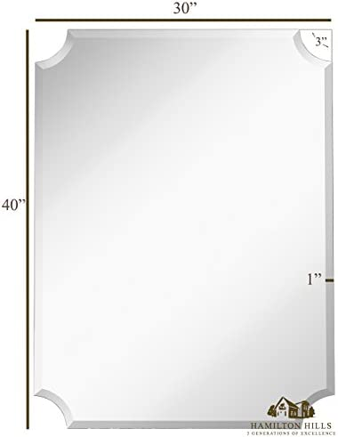Hamilton Hills Large Beveled Scalloped Edge Rectangular Wall Mirror 1 inch Bevel Curved Corners Rectangle Mirrored Glass Panel