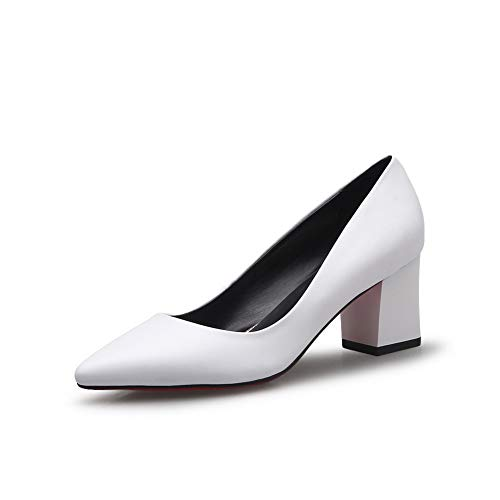 BalaMasa Womens Solid Business Travel Urethane Pumps Shoes APL11025 White