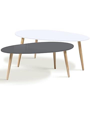 b5fe90b8eec22b IDMarket - Lot de 2 Tables Basses gigognes laquées Gris Blanc scandinave