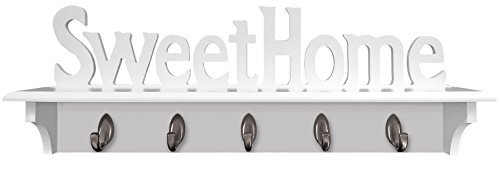 - Headbourne 8054E Home Sweet Home Hook Rail / Coat Rack with 5 Silver Hooks