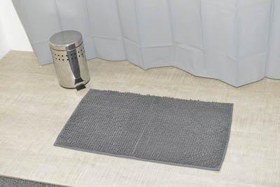 EVIDECO 3D Cobble Stone Shaped Memory Foam Bath Mat Microfiber Non Slip Dark Gray, Dark Grey