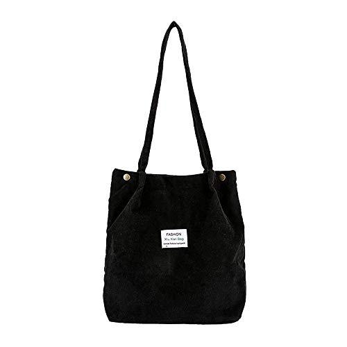 Crossbody Bags For Women,ZOMUSAR Fashion Corduroy Pure Color Shoulder Bag Satchel Tote Hand Bag (Black)