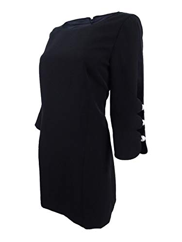 Laundry by Shelli Segal Women's Crepe Shift Dress with Pearl Sleeve Detail, Black 2 from Laundry by Shelli Segal