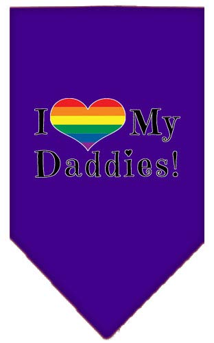 (Mirage Pet Products I Heart My Daddies Screen Print Bandana Purple Small)