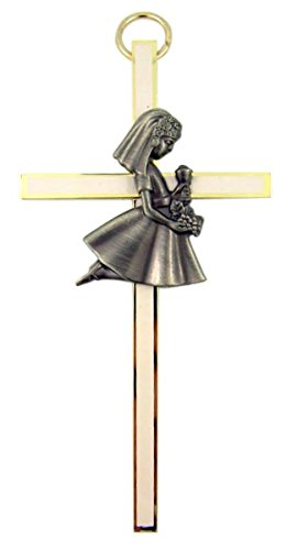 First Holy Communion Gifts (White Enamel First Holy Communion Brass Wall Cross, 4 Inch (Girl))
