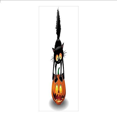 Ylljy00 Decorative Privacy Window Film/Black Cat on Pumpkin