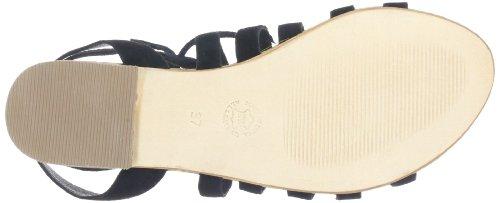 Black Lily cosmos sandal - Sandalias de cuero mujer negro - negro