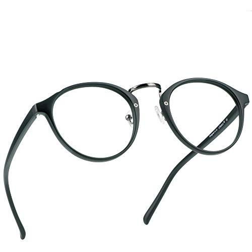 LifeArt Reading Glasses Stylish Computer Glasses, for Women/Men,Transparent Lens Filter UV Light 400,Reduce Eyestrain (LA_Chillax_Black, 2.25 Magnification)