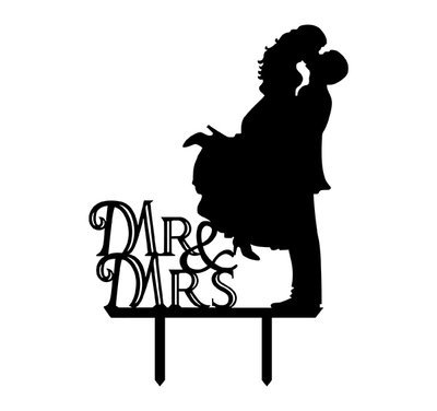 Bride and Groom Silhouette Mr. & Mrs. Acrylic Cake Topper,black ()