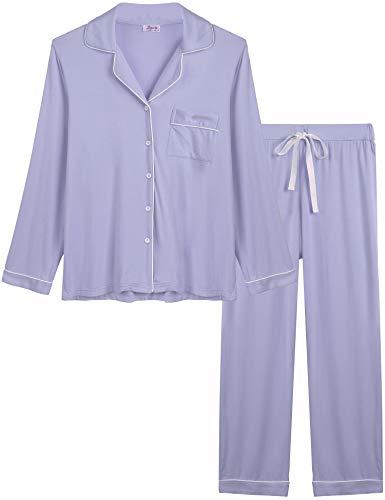 Joyaria Womens Comfy Pj Sets Button UP Jersey Knit Pajama Pants Set Summer Loungewear (Light Purple, Medium)