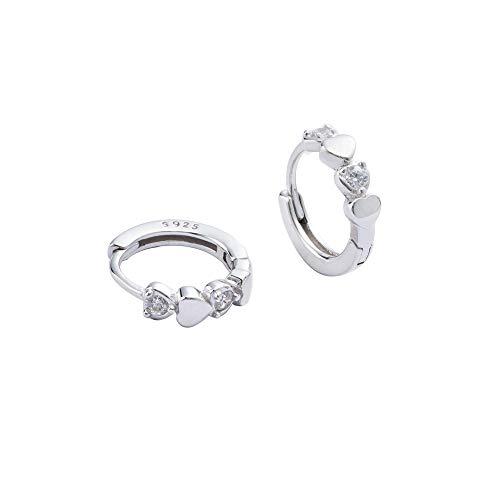 Double Love Heart Cubic Zirconia Sleeper Small Hoop Earrings for Women Teen Girls Cartilage Tiny Cute CZ Huggie Hoops Hypoallergenic for Sensitive Ear