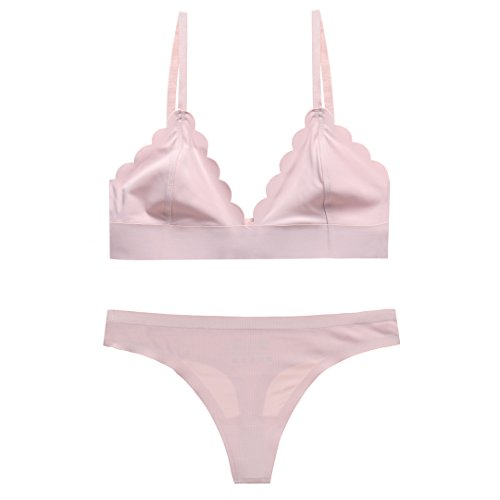 2 Piece Set with Sexy Wave Edge No-show Wireless Bra and No-show Thong (T-back Panties) (L, Pink) -