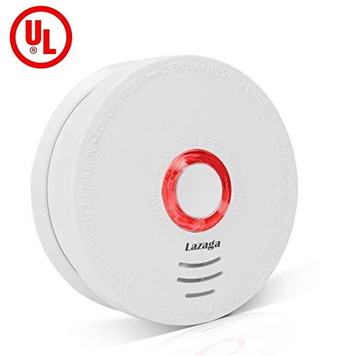 Lazaga Smoke Detector,Smoke and Fire Alarm with UL Listed GS528A,Smoke Monitor Warning Alarm Sensor Detector Battery Powered(Battery included)