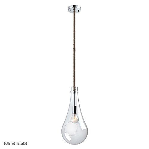 Globe Electric Terra 1-Light Terrarium Pendant with Twine Wrapped Cord, Chrome Finish, 65263