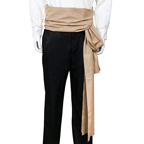 - COSFLY Men Pirate Medieval Renaissance Large Sash Halloween Costume Waist Sash Belt Accessory (Khaki)