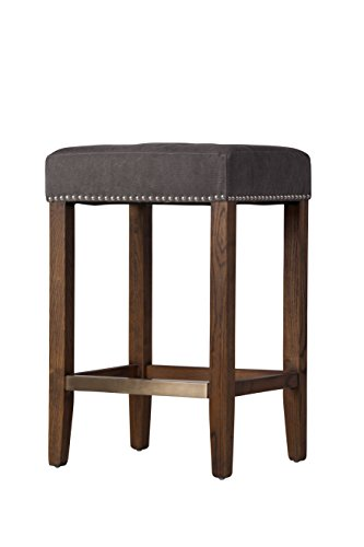 Antique Brass Bar Stool (Design Tree Home Ash Counter Stool, Frost Grey with Kick Plate)