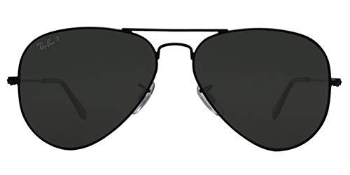 Ray-Ban Aviator Polarized Black Frame w/ Natural Green RB 3025 002/58 55mm Small (Ray-ban 3025 55)