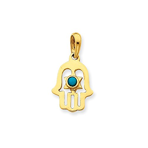 (14k Gold Turquoise Chamseh Pendant (0.98 in x 0.51 in))