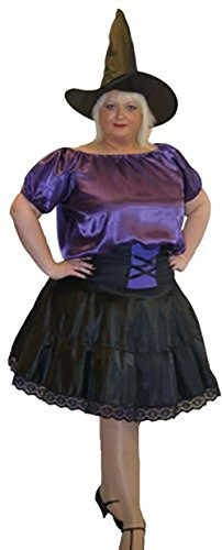 Wicked Costumes Musical (Stage-Panto-Wicked-Halloween PURPLE SATIN WITCH & HAT Ladies Costume - All Ladies Sizes (LADIES 32-36))