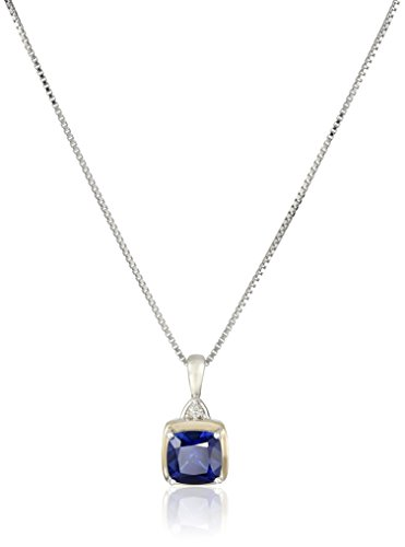 sg-sterling-silver-and-14k-yellow-gold-cushion-created-sapphire-with-diamond-accent-pendant-necklace