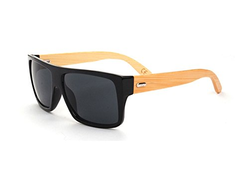 Suasi Uv Protection Sports Glasses Cycling Wood Sunglasses with Bamboo Legs for Riding Driving Fishing Running Golf Yj00121 (Black)