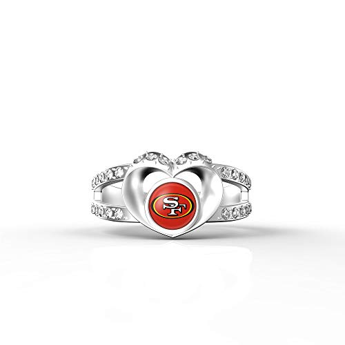 (MT-Sports NFL Heart Shaped Lady Ring Lady Exquisite Heart Shaped Ring (San Francisco 49ers, 8))