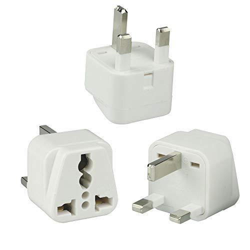 UK Travel Plug Adapter(Type G) for UK, Hong Kong, Malaysia, Singapore,  Kenya, Saudi Arabia - Grounded & Universal (Type G, 3Pack, Grounded) -White