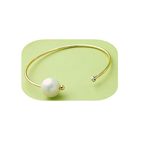 ELFTUNE Gold Bracelets for Women Hammered 14K Gold Fill Dainty Bar Pearl Adjustable Open Cuff Charm Bangle Simple Bracelet Delicate Cute Friendship Gifts
