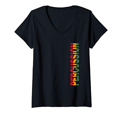 Womens Percussion Rasta Color Reggae Music Drumline Drum Men Gifts V-Neck T-Shirt