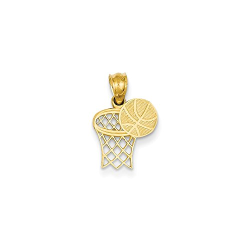 - 14K Yellow Gold Basketball & Hoop Pendant