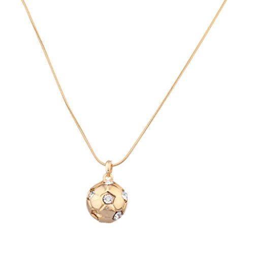Lux Accessories Soccer Futbol Fútbol Ball Football Pave Round Pendant Necklace (Pave Clasp Ball)