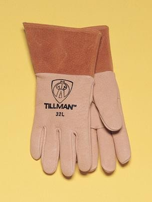 Tillman X-Large Gold Top Grain Pigskin Unlined Premium Grade Heavy Duty MIG Welders Gloves With Straight Thumb, 4'' Cuff And Kevlar® Lock Stitching