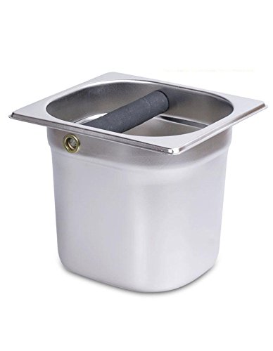 Commercial Espresso Knock Box - iecool Thicken Stainless Steel Metal Coffee Powder Slag Bucket Silver 1617.510cm