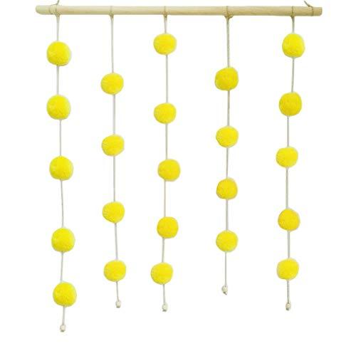 Xiang Ru Felt Ball Garland Handmade String Hanging Ornaments Soft Wall Decoration Yellow