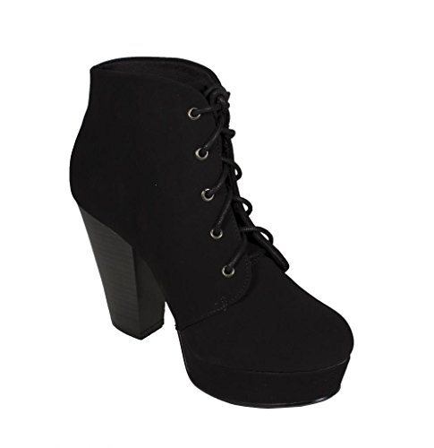 Nubuck Lace Heel AGENDA High Ankle Boots Chunky Up Booties Platform Black Leatherette Women's HXqxnwx5P1