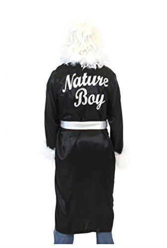 Adult Wrestling Wrestler Ric Flair Nature Boy Costume Robe and Wig (BLACK) (Ric Flair Costumes)