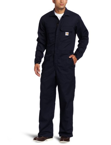 Carhartt Men's Big & Tall Flame Resistant Traditional Twill Coverall,Dark Navy,40 Tall