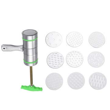 9 Mode Card Stainless Steel Manual Noodle And Pasta Press Spaghetti Kitchen - Kitchen Tools & Gadgets Kitchen Food Processor Machine - (Green) -