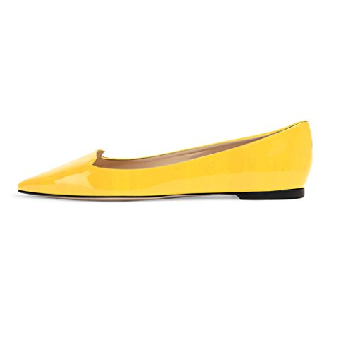 Flat Women Pumps Yellow Ballet Classic Out Pointed Flats Cut Pumps Style ELASHE Flats Toe PqRUn1UAw