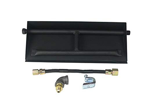 (Dreffco 18 Inch NG Powder Coated Steel Complete Fireplace Dual Row Burner Pan Kit)