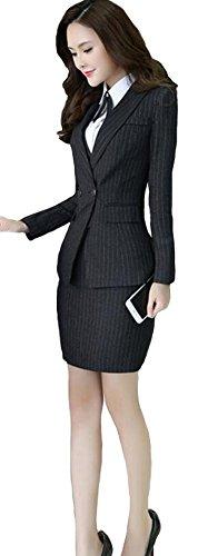 Sarety Women's Business OL Work Slim Fit Pinstripe Blazer Jacket Dress Suit Set black(Blazer+Dress) US M-Label XL
