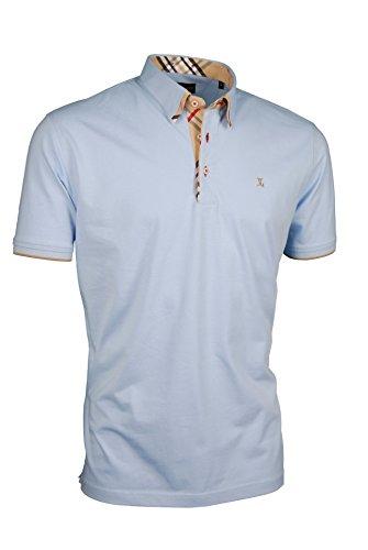 Premium-Poloshirt von Giorgio Capone, einzigartiger Hemdkragen, Jersey-Stoff 100% Baumwolle, hellblau, Regular Fit