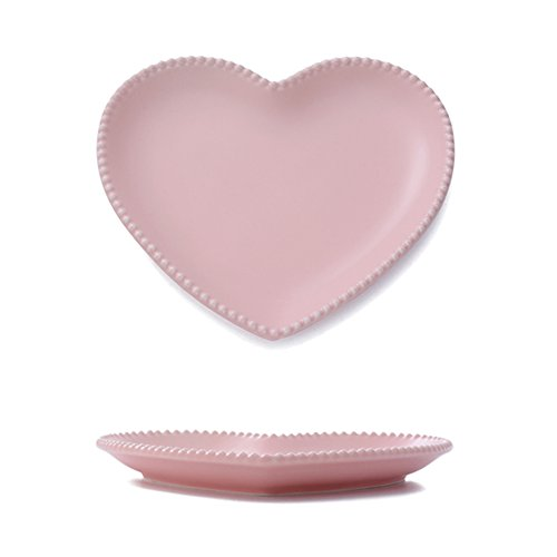 CHOOLD Elegant Ceramic Heart Shaped Dinner Plate/Salad Plate/Dessert Plate/Steak Plate for Kitchen Party Xmas Gift 7''(white/pink)