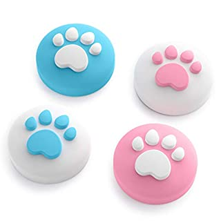 Cat Claw Design Thumb Grip Caps, Joystick Cap for Nintendo Switch & Lite, Soft Silicone Cover for Joy-Con Controller (Pink & Blue)