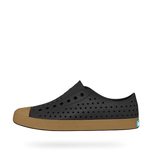 Native Shoes Mens Jefferson White Rubber Slip On negro, (Jiffy Black / Gum Rubber)
