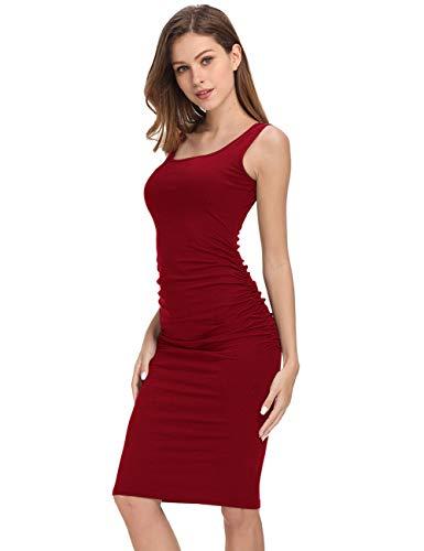 GloryStar Women's Long Sleeve Ruched Bodycon Midi Sheath Pencil Dress (XL, Sleeveless Burgundy)